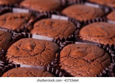 closeup of freshly baked brownies