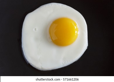 Closeup of fried eggs on a black background. top view
