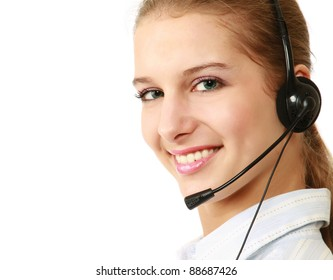 Closeup of a friendly customer service girl with a headset, isolated on white background