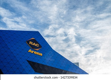 Closeup front area of RAC Arena or Perth Arena, a neofuturistic entertainment and sporting arena in the city centre of Perth, Western Australia. Shot on 5jun2019