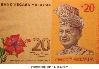 A closeup of the front of a colorful Malaysian 20 ringgit bill.