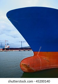 close-up of the front of a container ship