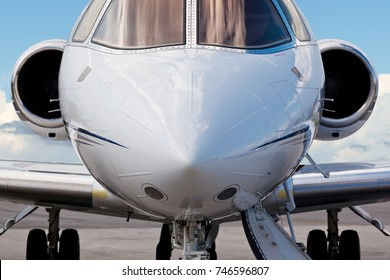 Close-up of the front of a corporate jet