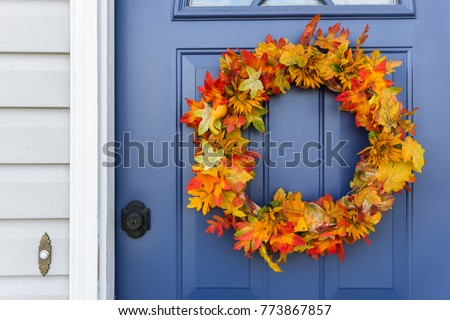 Closeup Front Door Decorative Autumn Wreath Stock Photo Edit Now
