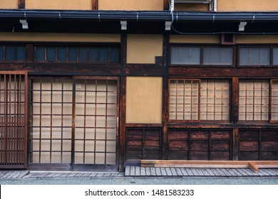 Closeup front door entrance of preserved traditional wooden house in old town area of Hida-Takayama, Gifu, Japan. Famous travel destination in Central Japan.