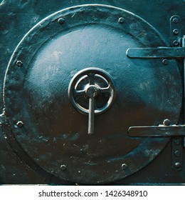 Close-up of the front flap of a historic steam locomotive
