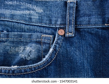 closeup of a front pocket texture, Blue jeans