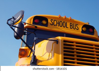 Close-up of the front of a school bus.
