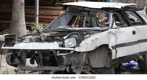 Closeup of front side of a old damaged car from road traffic accident. The image for road traffic accident reduction campaign.