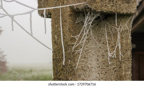 close-up of a frozen/ frosted spiderweb on a grey column made out of concrete/ hoar frost on a cubweb in Lower Saxony, Germany/ incredible spectacle of  nature