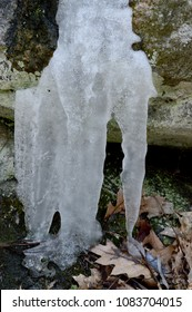 A closeup of frozen water running off a forest rock during the springtime melt in the northern hemisphere.