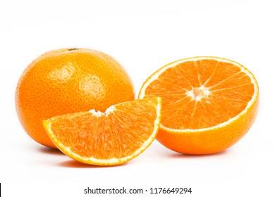 Closeup full and a half orange fruit, isolated on white background.