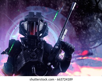 Closeup futuristic swat soldier on a future city background. Closeup swat soldier in futuristic tactical outfit armor and weapons standing on a science fiction background with glowing lights effect.