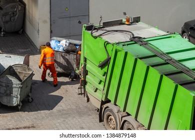 close-up of garbage removal from the residential quarter of the city