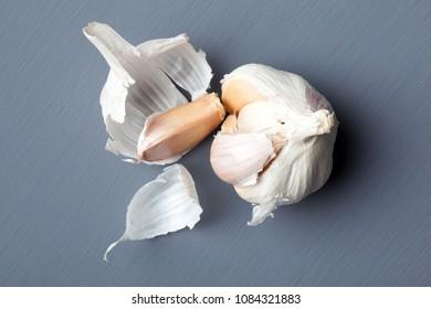 Closeup of garlic on grey background