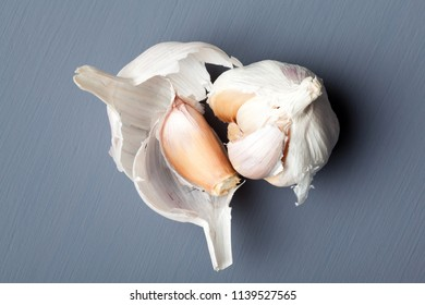 Closeup of garlic on grey background
