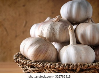 Closeup, Garlic on wooden background