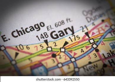 Closeup of Gary, Indiana on a road map of the United States.