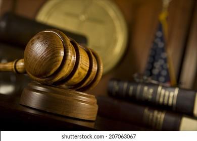 Closeup of gavel in court room