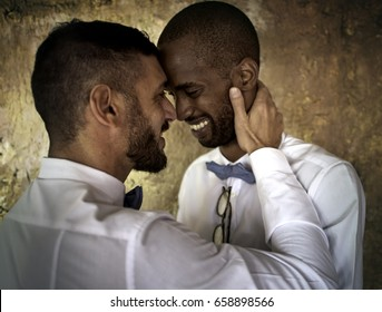 Closeup of Gay Couple Smiling Together