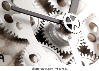 Closeup of gears from clock works