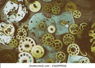 Closeup gears and cogs. Mechanism. Mechanic action.