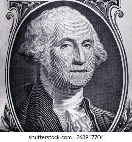 Close-up of George Washington on US one dollar bill