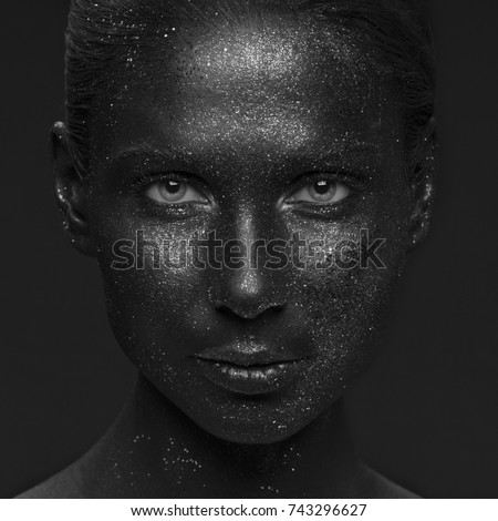 Closeup Girl Face Sparkle Paint Art Stock Photo Edit Now 743296627
