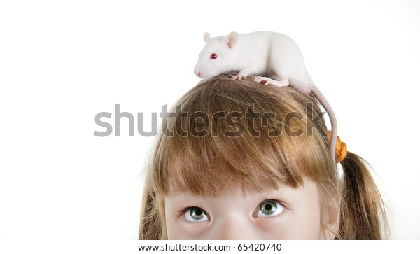 close-up girl with a rat on her head