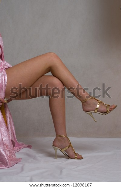 Closeup. girls legs on grey background
