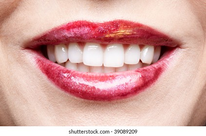 close-up of girl's lips
