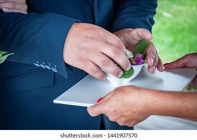 Closeup of giving wedding rings.