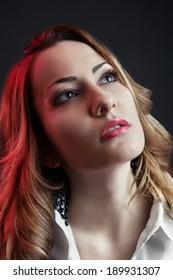 Closeup of a glamorous beautiful caucasian woman
