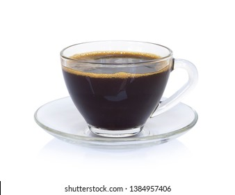 Closeup glass of americano hot coffee isolated on white background