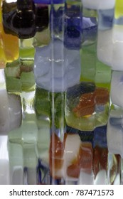 Close-up of gLass marbles in a vase