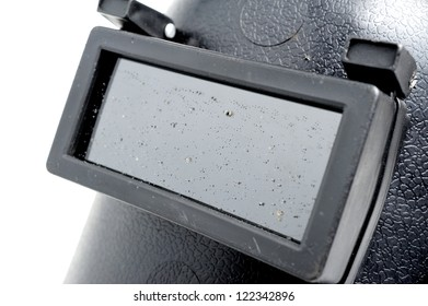 Closeup glass of protective welding mask