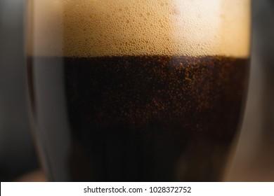 closeup glass of stout beer