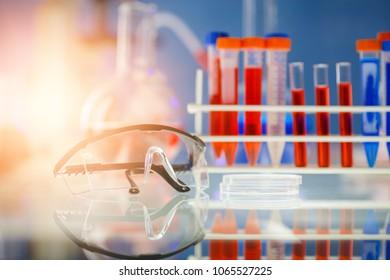 closeup of gogle on the desk in laboratory