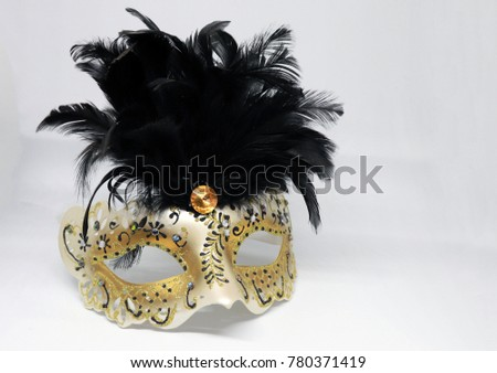 Closeup Gold Black Masquerade Fancy Dress Stock Photo Edit Now