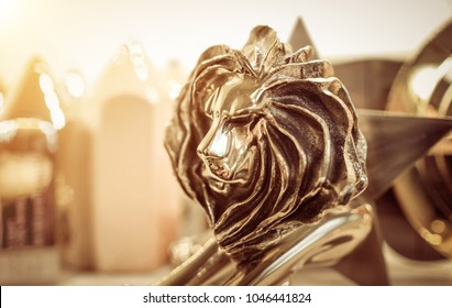 Closeup of gold cannes lion trophy, Shoot at Cannes lions festival 2017, France