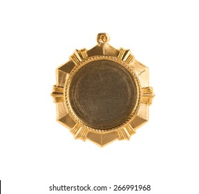Closeup of gold medal. Isolated on a white background.
