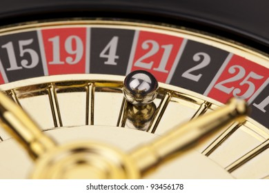 Close-up of golden roulette