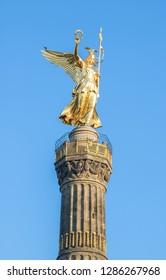 Closeup of golden Victory Column in Berlin