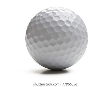 Closeup of golf ball isolated on white background.