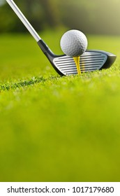 Close-up of golf ball on tee