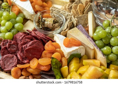 Closeup of Gourmet Charcuterie Board with Copy Space. Selective Focus.