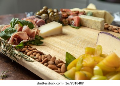 Closeup of Gourmet Charcuterie Board with Selective Focus