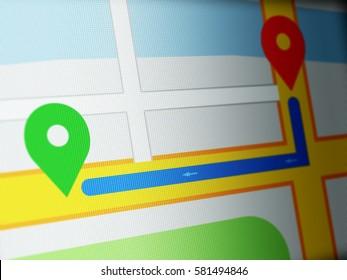 Closeup of GPS navigation on LCD Screen