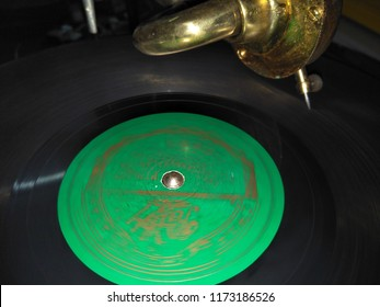 Closeup of the Gramophone with LP record.The LP is an analog sound storage medium.