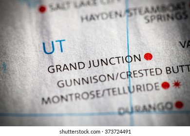 Closeup of Grand Junction, Utah on a map of the USA.